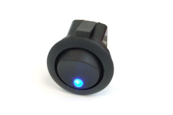 Phobya Wippschalter Rund - LED blau - 1-polig AN/AUS schwarz (3pin)