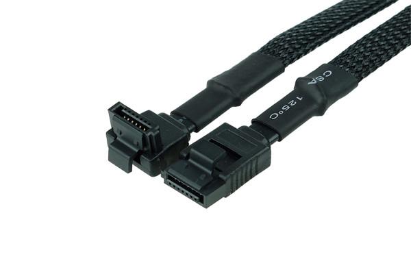 Phobya SATA 3.0 Anschlusskabel mit Sicherheitslasche 15cm - Schwarz gesleevt