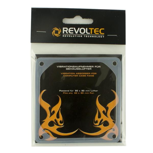 Revoltec Vibrationsaufnehmer für Gehäuselüfter - 80 x 80 mm