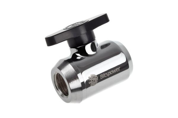Bitspower Absperrhahn 2x IG 1/4 Zoll, schwarzer Griff - Shiny Silver