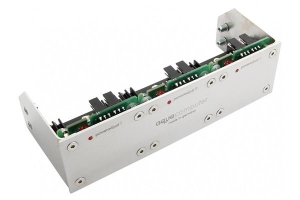 Aquacomputer Einbaublende für poweradjust 2/3 und farbwerk, Edelstahl gebürstet