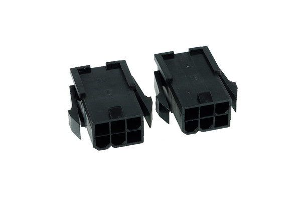 Phobya VGA Power Connector 6Pin Buchse (4-eckig) inkl. 6 Pins - 2 Stück Black