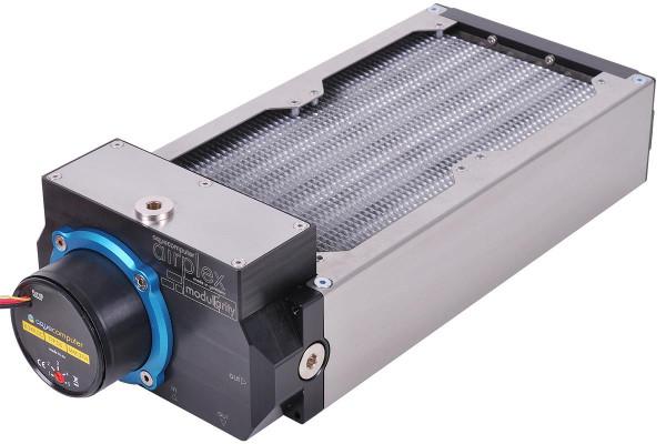 Aquacomputer airplex modularity system 240 mm, Alu-Lamellen, D5 Pumpe, Edelstahl-Seitenteile