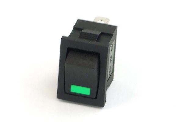Phobya Wippschalter Eckig - LED grün - 1-polig AN/AUS schwarz (3pin)