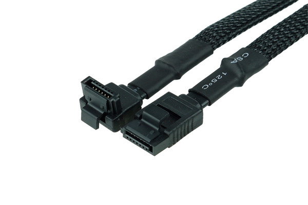 Phobya SATA 3.0 Anschlusskabel mit Sicherheitslasche 90cm - Schwarz gesleevt