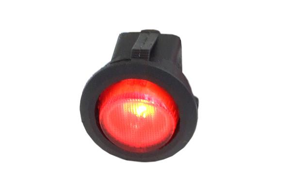 Phobya Wippschalter Rund - beleuchtet rot - 1-polig AN/AUS schwarz (3pin)