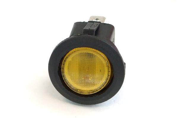 Phobya Wippschalter Rund - beleuchtet gelb - 1-polig AN/AUS schwarz (3pin)